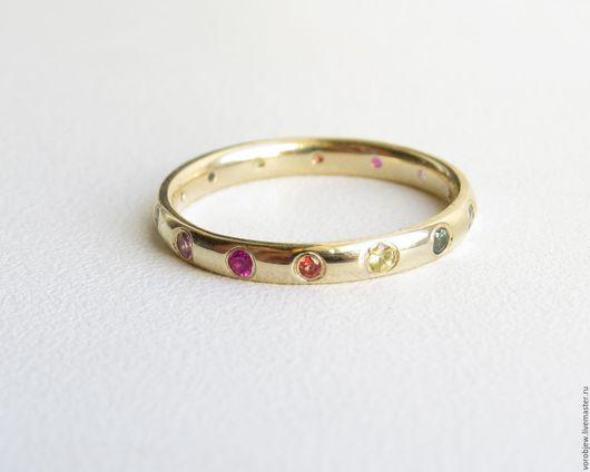 Кольца ручной работы. Ярмарка Мастеров - ручная работа. Купить Кольцо золото 585 с цветными сапфирами. Handmade. Золотой, радужный