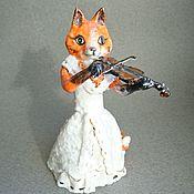 Для дома и интерьера handmade. Livemaster - original item Violin Fox. Porcelain figurine.. Handmade.
