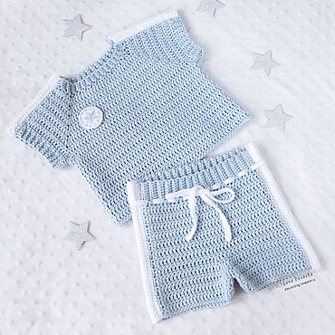 Works for children handmade. Livemaster - original item Sports shorts and t-shirt, knitted suit for newborn baby blue. Handmade.