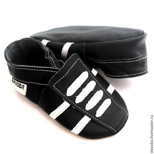 Кожаные тапочки чешки пинетки кроссовочки чёрный с белым ebooba