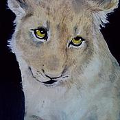 """Картины и панно ручной работы. Ярмарка Мастеров - ручная работа Картина """"Скромный львенок"""". Handmade."""