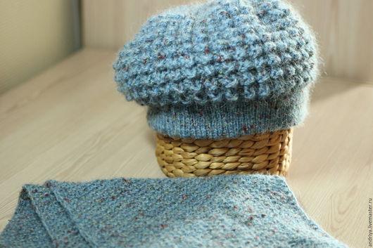 Шапки ручной работы. Ярмарка Мастеров - ручная работа. Купить Шапка+шарф(комплект). Handmade. Голубой, комплект вязаный, шерсть
