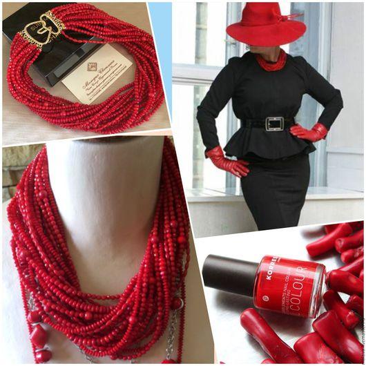 Роскошные эксклюзивные авторские украшения из натуральных камней коралла красного цвета колье ожерелье на шею красивые нарядные серьги грозди купить в Москве