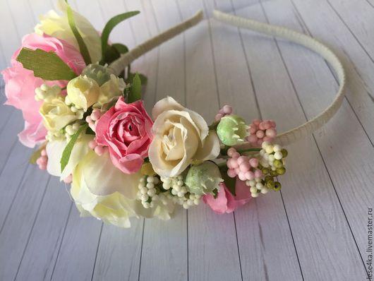 Диадемы, обручи ручной работы. Ярмарка Мастеров - ручная работа. Купить Романтичный цветочный ободок. Handmade. Кремовый, ободок