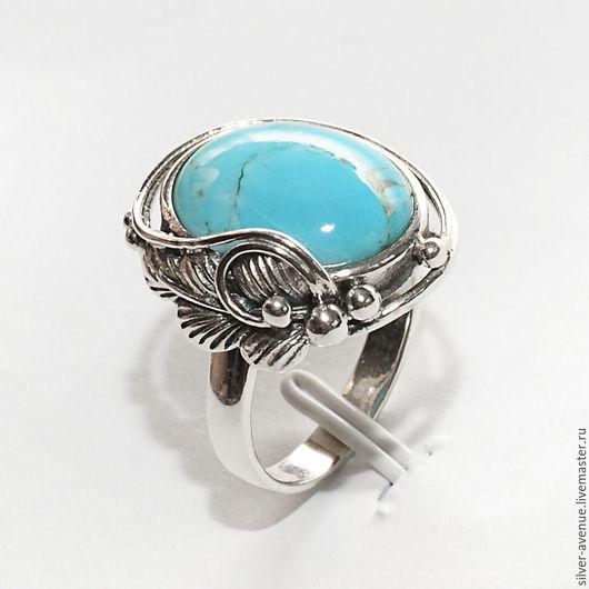 Кольца ручной работы. Ярмарка Мастеров - ручная работа. Купить Кольцо с натуральной голубой бирюзой, серебро 925. Handmade. Серебряный