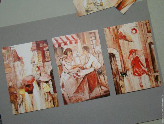 """Открытки для женщин, ручной работы. Ярмарка Мастеров - ручная работа. Купить """"Romantique""""(Набор открыток малый). Handmade. Романтика, влюбленная пара"""