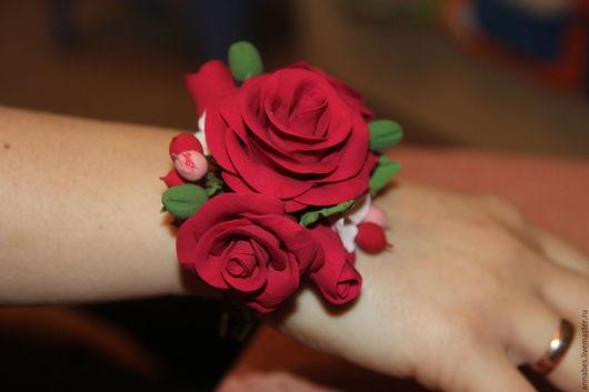 Браслеты ручной работы. Ярмарка Мастеров - ручная работа. Купить Браслет Розы из полимерной глины. Handmade. Подарок девушке