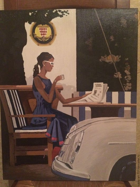 Люди, ручной работы. Ярмарка Мастеров - ручная работа. Купить Утренние новости. Handmade. Чашка кофе, девушка, картина в подарок