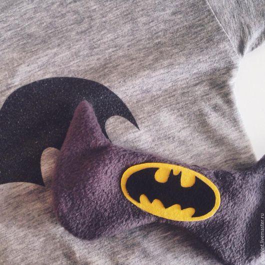 """Белье ручной работы. Ярмарка Мастеров - ручная работа. Купить Маска для сна """"Бэтмен"""". Handmade. Серый, супергерой, подарок девушке"""
