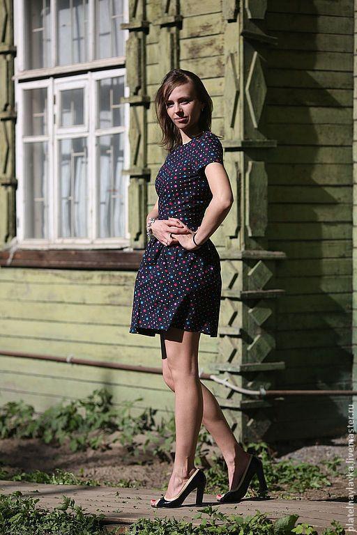 Платья ручной работы. Ярмарка Мастеров - ручная работа. Купить Платье в цветной горох, короткое. Handmade. Американский хлопок, в горошек