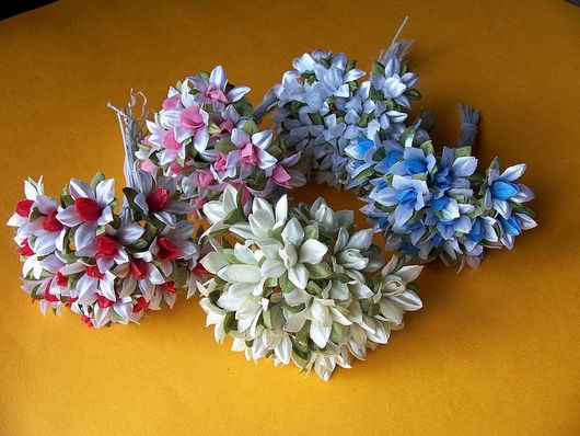 Аппликации, вставки, отделка ручной работы. Ярмарка Мастеров - ручная работа. Купить Цветы из ткани (звездочки) 5 шт. Handmade.