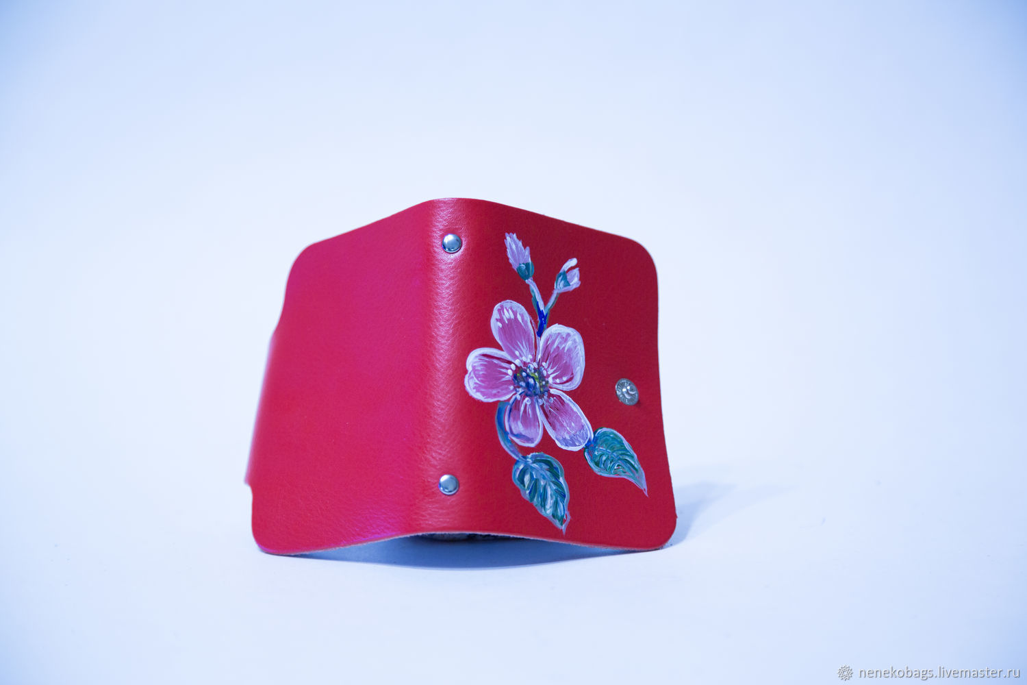 Business card holder leather red button with a picture – shop online ...