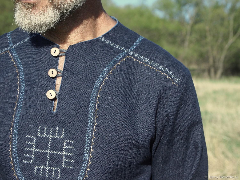 """Рубаха мужская """"Руки бога"""" из натурального льна, Рубашки мужские, Россошь,  Фото №1"""