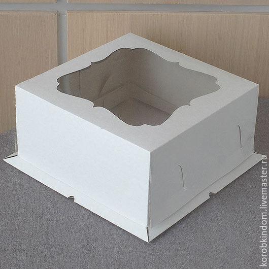 """Упаковка ручной работы. Ярмарка Мастеров - ручная работа. Купить Коробка 21х21х10 """"крышка-дно"""" с окном для торта белая. Handmade."""