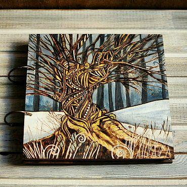"Stationery handmade. Livemaster - original item Sketchbook wood cover 22x22sm ""Winter tree"". Handmade."