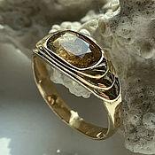 Украшения handmade. Livemaster - original item Men`s Ring with Yellow Raw Sapphire 3.89 ct in 585 Gold. Handmade.