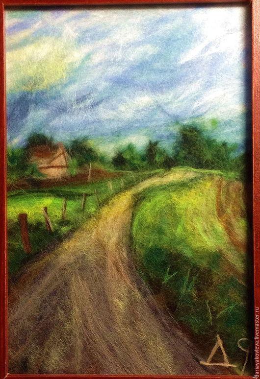 Пейзаж ручной работы. Ярмарка Мастеров - ручная работа. Купить Картина из шерсти Начало. Handmade. Зеленый, пейзаж, картина для интерьера