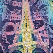 Аксессуары ручной работы. Ярмарка Мастеров - ручная работа платок Ночные краски Парижа. Handmade.