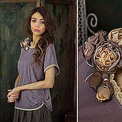 """Одежда ручной работы. Ярмарка Мастеров - ручная работа Топ """" Песочная радуга"""" в цвете кофе с молоком.. Handmade."""