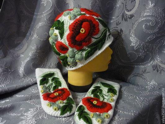 """Шапки ручной работы. Ярмарка Мастеров - ручная работа. Купить Шапка + варежки с ручной вышивкой """"Маки на белом"""". Handmade."""