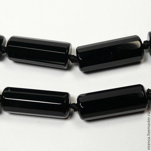 Для украшений ручной работы. Ярмарка Мастеров - ручная работа. Купить Агат черный трубочка  огранка 15 х 7 мм. Handmade.