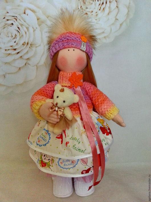 Куклы тыквоголовки ручной работы. Ярмарка Мастеров - ручная работа. Купить Интерьерная кукла с мишкой. Handmade. Кукла ручной работы