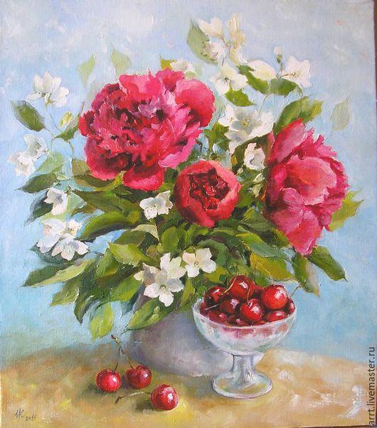 Картины цветов ручной работы. Ярмарка Мастеров - ручная работа. Купить Пионы красные и черешня Картина маслом 35х40см. Handmade.