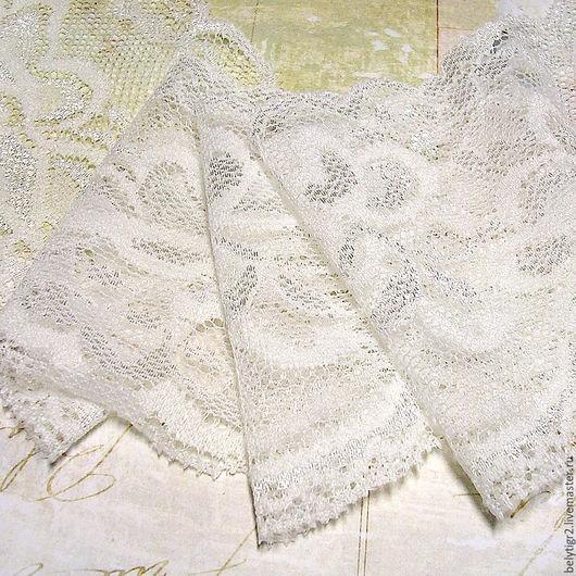 кружево эластичное № 7, 83 мм, полиэстер, цвет белый, 1 м
