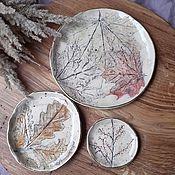 Посуда handmade. Livemaster - original item Set of plates Leaves. Handmade.
