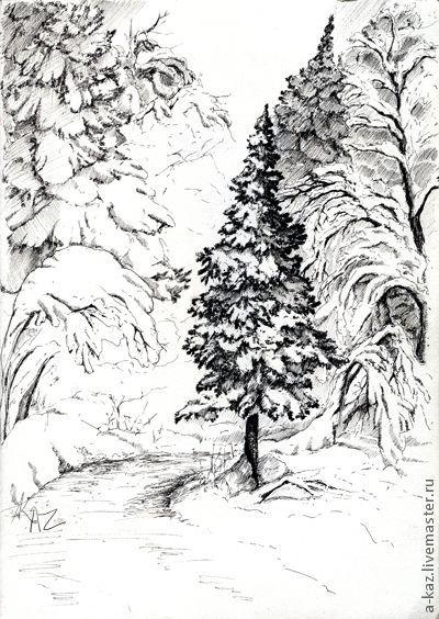 Пейзаж ручной работы. Ярмарка Мастеров - ручная работа. Купить Зима. Подмосковье.. Handmade. Чёрно-белый, зима, графика, ель