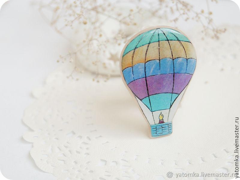 Брошка Воздушный шар для путешественников, Брошь-булавка, Симферополь,  Фото №1