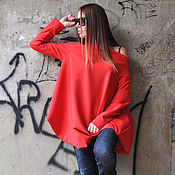 Одежда handmade. Livemaster - original item Red tunic, with dropped shoulders - TU0471PM. Handmade.