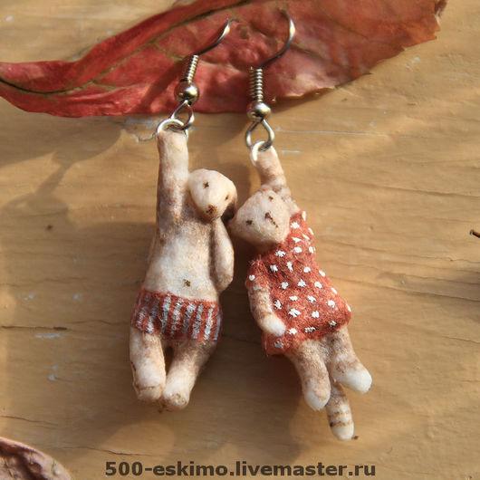 Серьги ручной работы. Ярмарка Мастеров - ручная работа. Купить Сережки Зайка и кошка. Handmade. Кошка, детская бижутерия