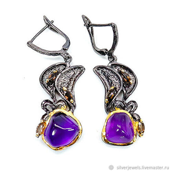 Earrings 925 silver with amethysts cabochons and cognac quartz, Earrings, Moscow,  Фото №1