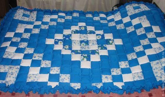 Текстиль, ковры ручной работы. Ярмарка Мастеров - ручная работа. Купить Лоскутное одеяло.. Handmade. Голубой, текстиль для интерьера, покрывало