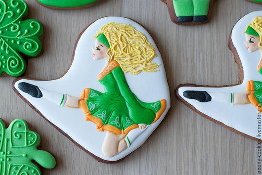 Кулинарные сувениры ручной работы. Ярмарка Мастеров - ручная работа. Купить Пряник имбирный Танцовищица ирландских танцев. Handmade. Комбинированный