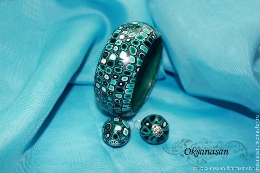 Bracelet, earrings, set emerald geometry, Jewelry Sets, Moscow,  Фото №1