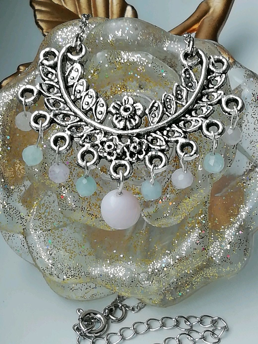 Necklace with pink opal and beryl 'TSVETANA', Necklace, Moscow,  Фото №1