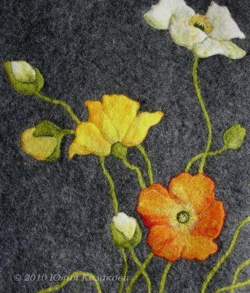Валяние с рисунком цветами
