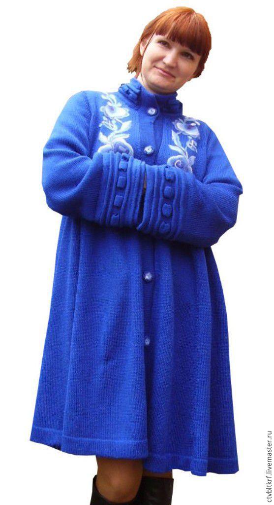 Вязаное пальто «Васильковая синева гжели», Верхняя одежда, Керчь, Фото №1