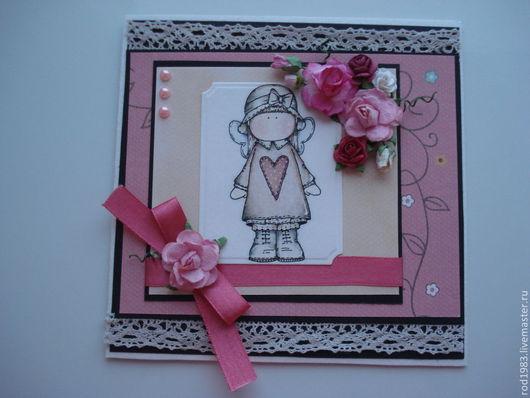 """Открытки на все случаи жизни ручной работы. Ярмарка Мастеров - ручная работа. Купить открытка """"улыбнись"""". Handmade. Розовый, открытка для женщины"""