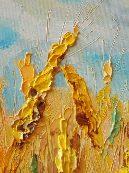 Пейзаж ручной работы. Ярмарка Мастеров - ручная работа. Купить Картина маслом Золотая пшеница. Handmade. Комбинированный, лето