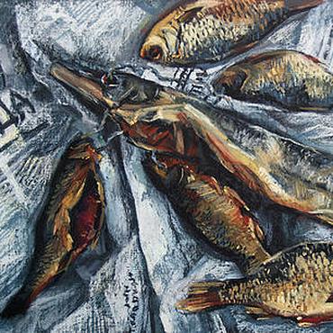 Картины и панно ручной работы. Ярмарка Мастеров - ручная работа Картина пастелью Натюрморт с рыбой. Handmade.