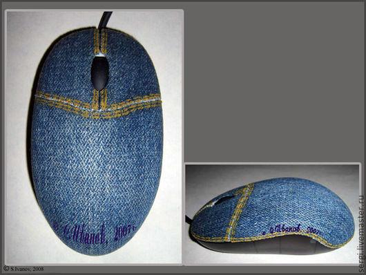 Компьютерные ручной работы. Ярмарка Мастеров - ручная работа. Купить Джинсовая мышь. Handmade. Синий, джинсовый стиль, джинса