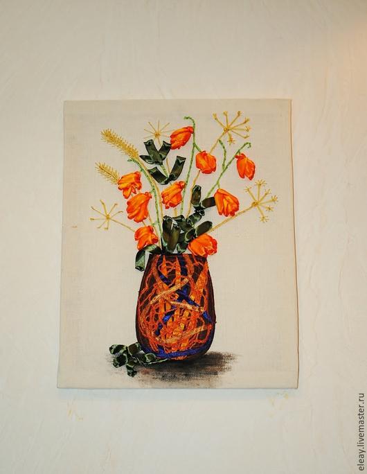 """Картины цветов ручной работы. Ярмарка Мастеров - ручная работа. Купить картина """"Физалис"""". Handmade. Разноцветный, картина в подарок"""