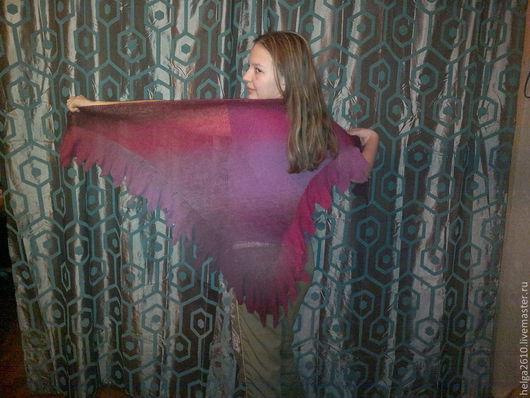 Жилеты ручной работы. Ярмарка Мастеров - ручная работа. Купить вязаная шаль. Handmade. Шаль из шерсти, Машинное вязание