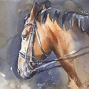 """Картины и панно ручной работы. Ярмарка Мастеров - ручная работа Картина """"Гнедая лошадь"""". Акварель. Большая интерьерная картина в раме. Handmade."""