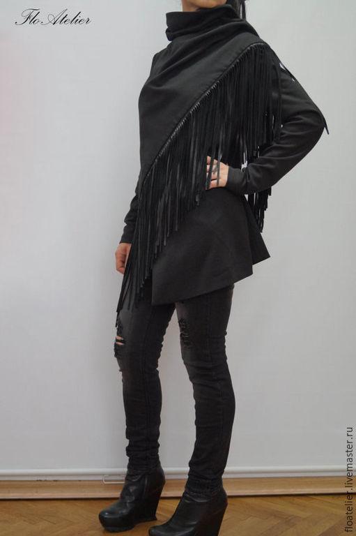 Верхняя одежда ручной работы. Ярмарка Мастеров - ручная работа. Купить Черный жакет/Ассиметричное экстравагантное пальто/F1251. Handmade. Черный