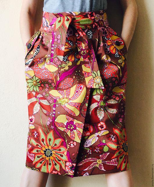 Юбки ручной работы. Ярмарка Мастеров - ручная работа. Купить Цветная юбка. Handmade. Комбинированный, лето 2016, цветная