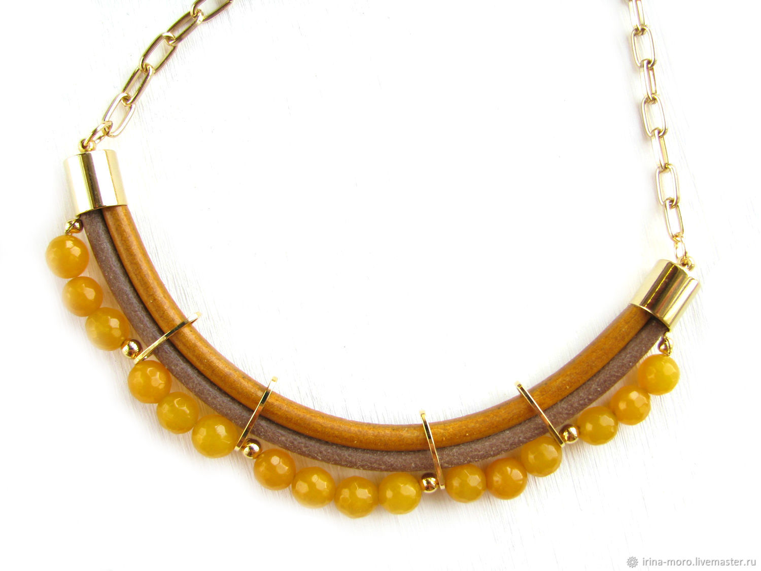 Necklace 'Mustard' necklace leather on a chain with agates, mustard, Necklace, Moscow,  Фото №1